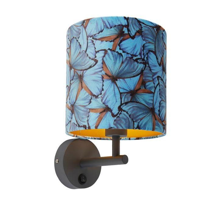 Strakke-wandlamp-donkergrijs-met-kap-velours-20/20/20-vlinder---goud