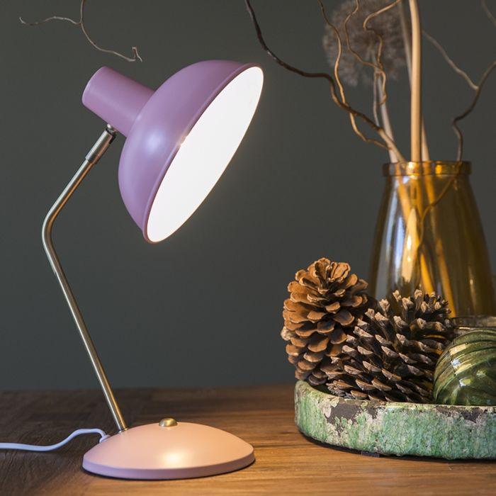 Moderne-tafellamp-roze-met-brons---Milou