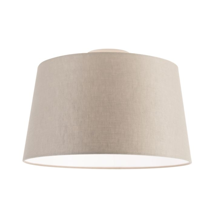 Plafondlamp-met-linnen-kap-taupe-35-cm---Combi-wit