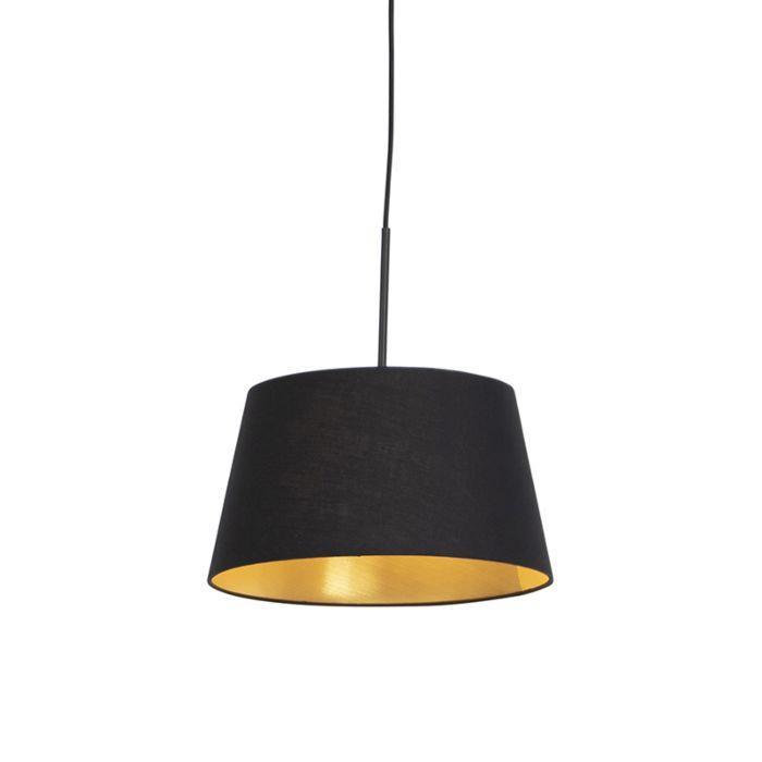 Hanglamp-met-katoenen-kap-zwart-met-goud-32-cm---Combi