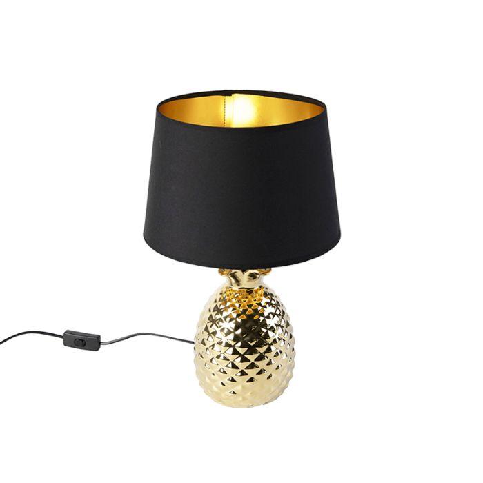Art-Deco-tafellamp-goud-met-zwart-gouden-kap---Pina
