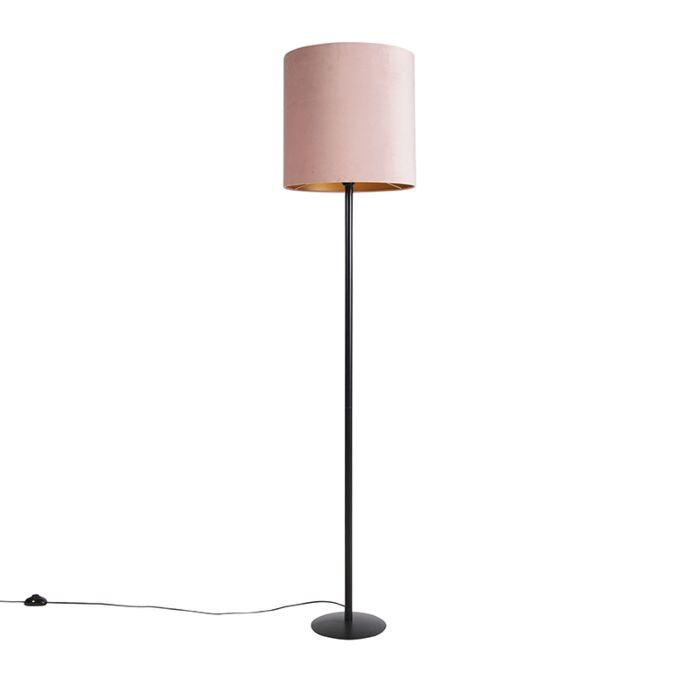 Zwarte-vloerlamp-met-velours-kap-roze-met-goud-40-cm---Simplo