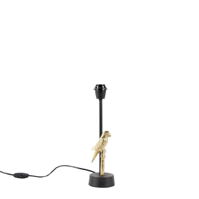 Art-Deco-tafellamp-zwart-met-goud-32-cm-zonder-kap---Pajaro