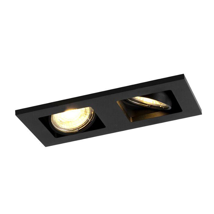 Rechthoekige-inbouwspot-2--lichts-zwart---Qure-