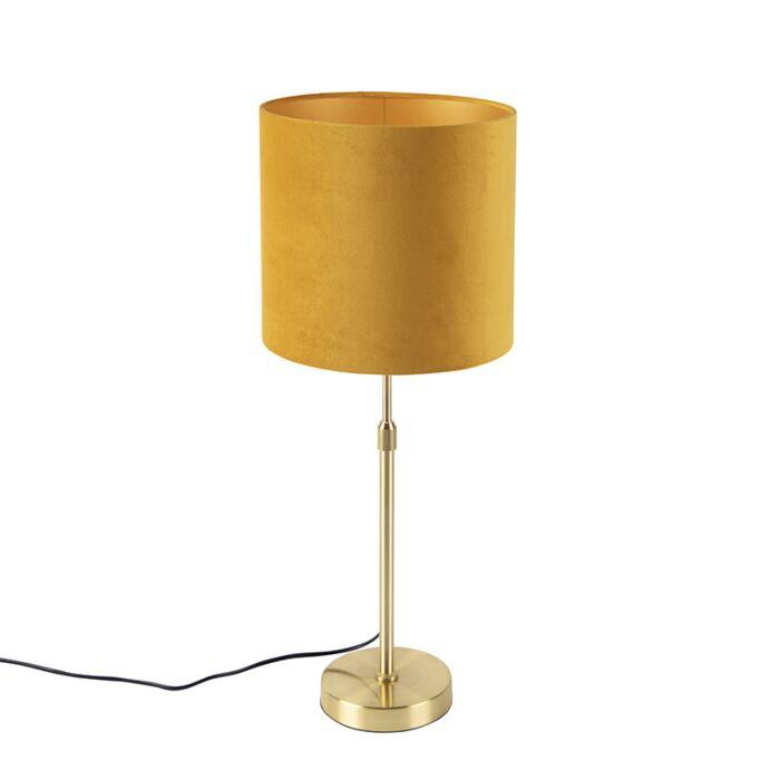 Gouden-tafellamp-met-velours-kap-oker-met-goud-25-cm---Parte