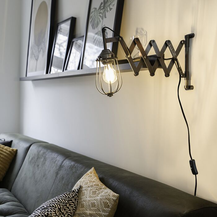 Vintage-uittrekbare-wandlamp-antiek-zink---Scissors-Cage