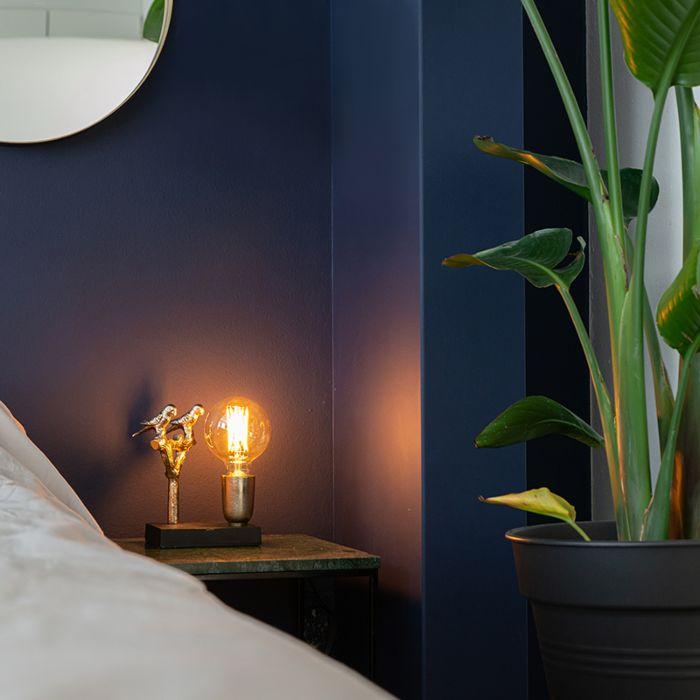 Art-Deco-tafellamp-zwart-met-goud-18,5-cm---Pajaro