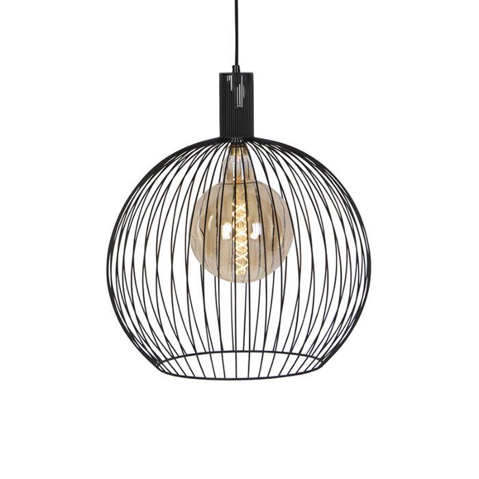 Moderne-ronde-hanglamp-zwart-50-cm---Wire