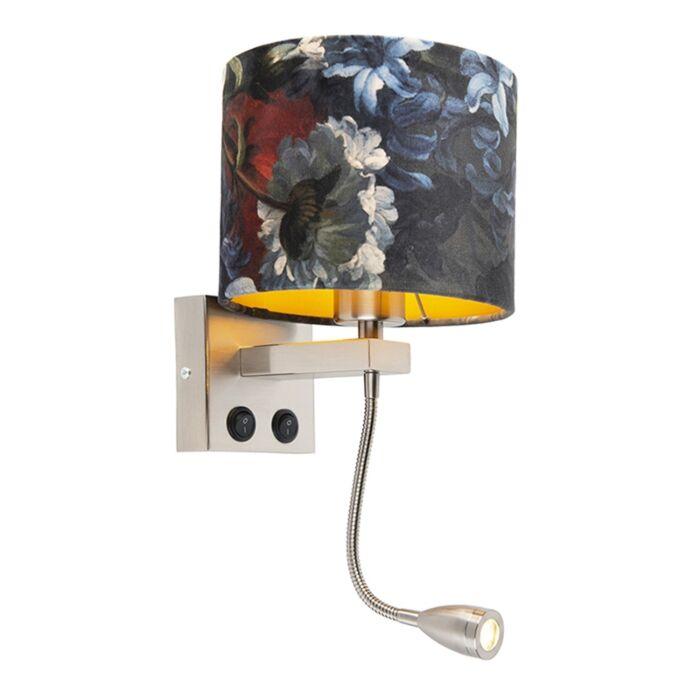 Moderne-wandlamp-staal-Brescia-met-kap-velours-18/18/14-bloemen---goud