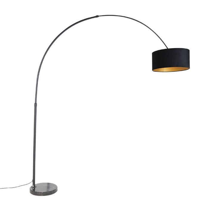 Zwarte-booglamp-met-velours-kap-zwart-met-goud-50-cm---XXL