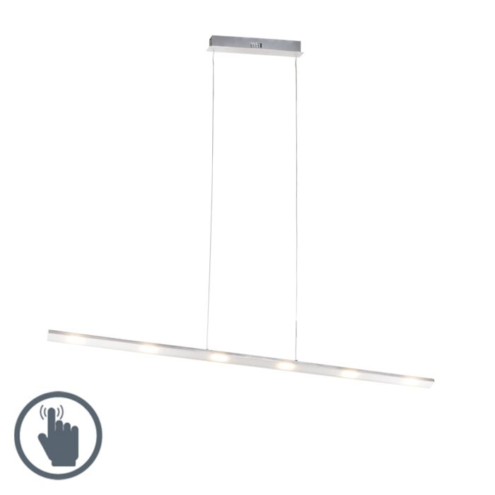 Design-hanglamp-staal-touch-dimmer-120cm-incl.-LED---Platina