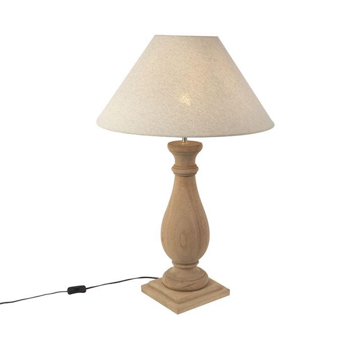 Landelijke-tafellamp-met-linnen-kap-beige-55-cm---Burdock