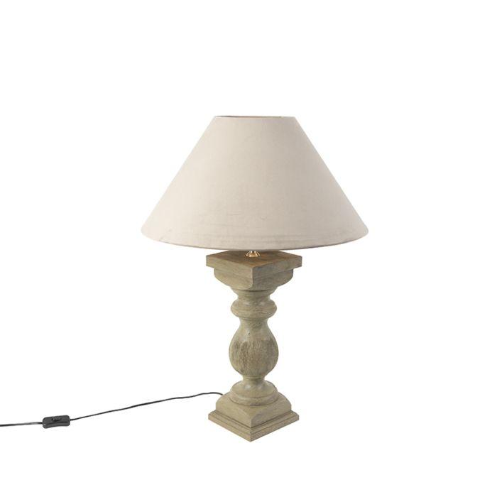 Landelijke-tafellamp-met-velours-kap-taupe-50-cm---Hyssop