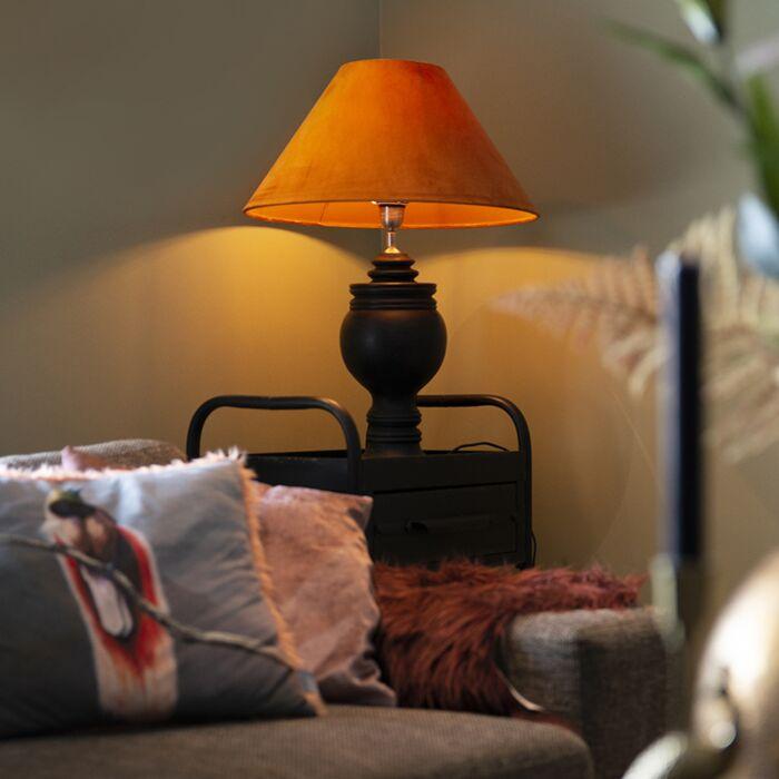 Landelijke-tafellamp-met-velours-kap-pumpkin-spice-50-cm---Sage
