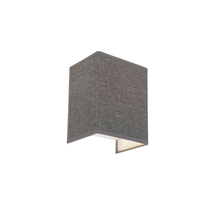 Moderne-wandlamp-jute-grijs---Vete