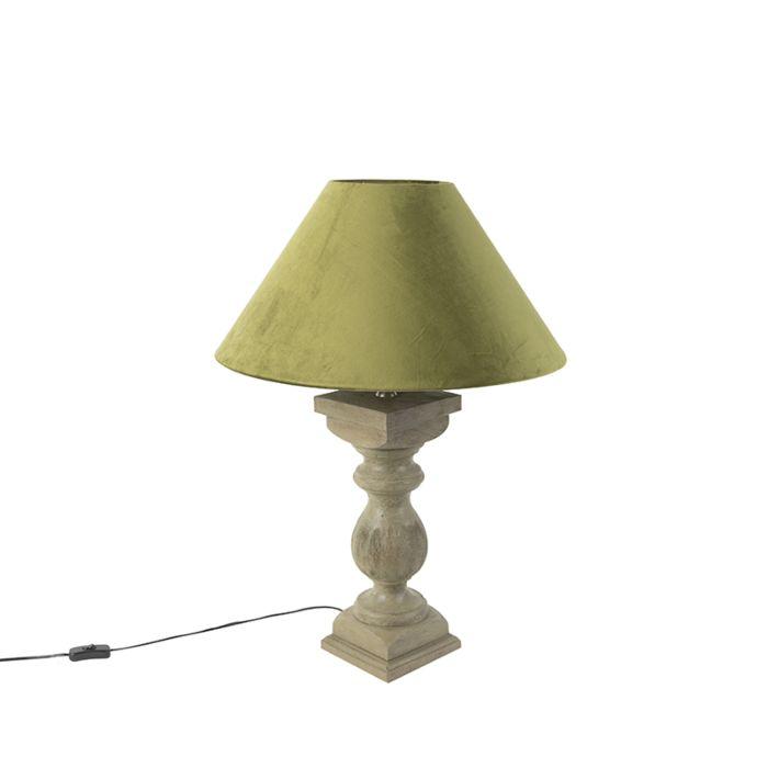 Landelijke-tafellamp-met-velours-kap-mosgroen-50-cm---Hyssop