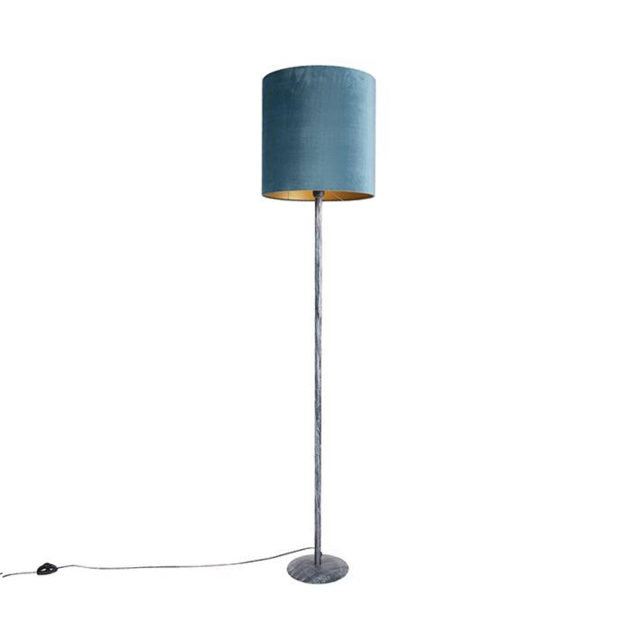 Vintage-vloerlamp-antiek-grijs-met-blauw---gouden-kap-40cm---Simplo