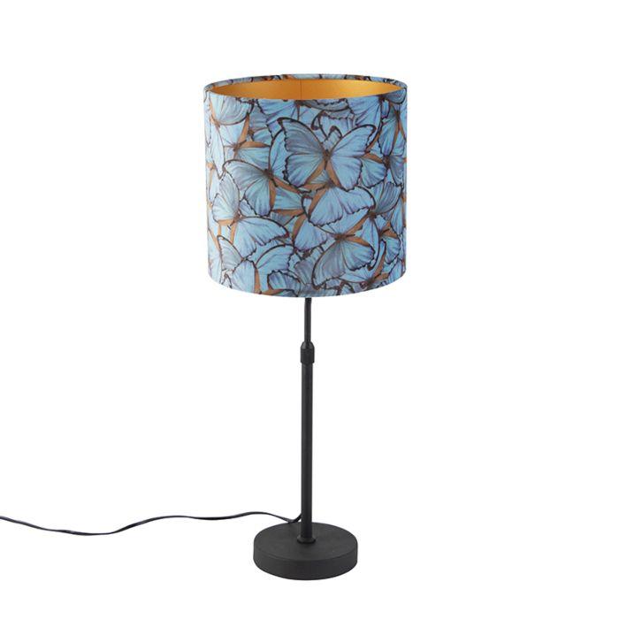 Zwarte-tafellamp-met-velours-kap-vlinders-met-goud-25-cm---Parte
