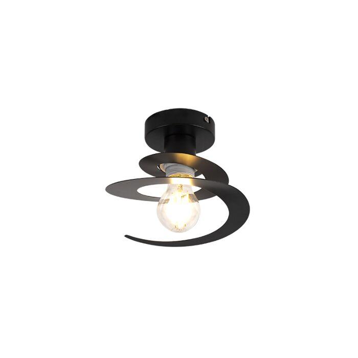 Moderne-plafondlamp-met-zwarte-spiraal-kap---Scroll