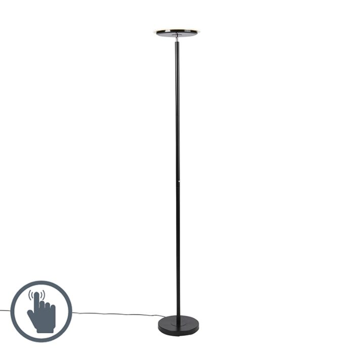 Moderne-vloerlamp-zwart-incl.-LED---Hanz