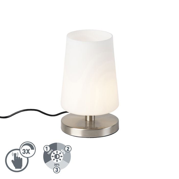 Moderne-tafellamp-staal-met-touchdimmer-incl.-LED---Magma
