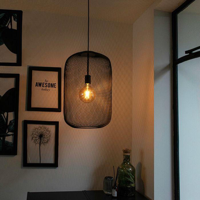 Moderne-zwarte-hanglamp---Bliss-Mesh