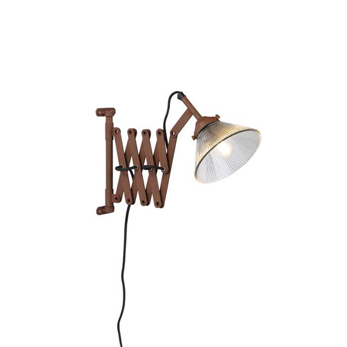 Vintage-uittrekbare-wandlamp-roest-met-glas---Scissors-Glass