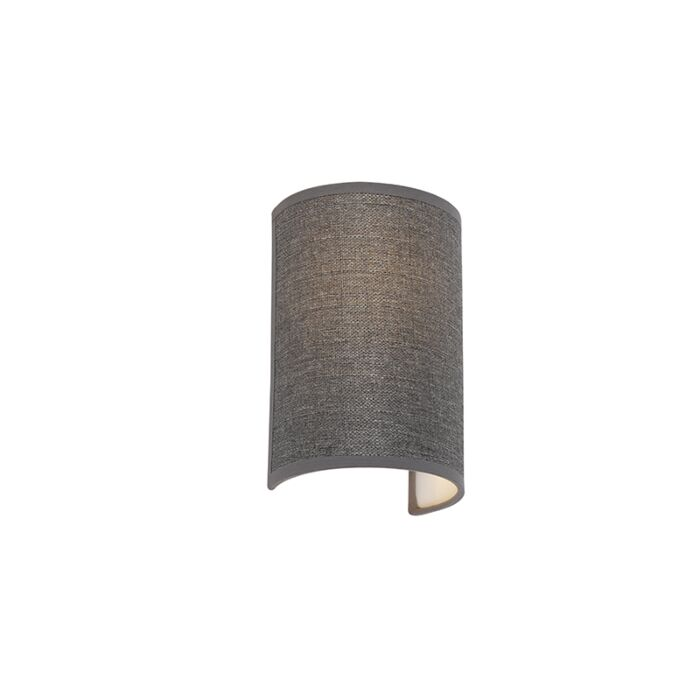 Moderne-wandlamp-grijs---Simple-Drum-Jute
