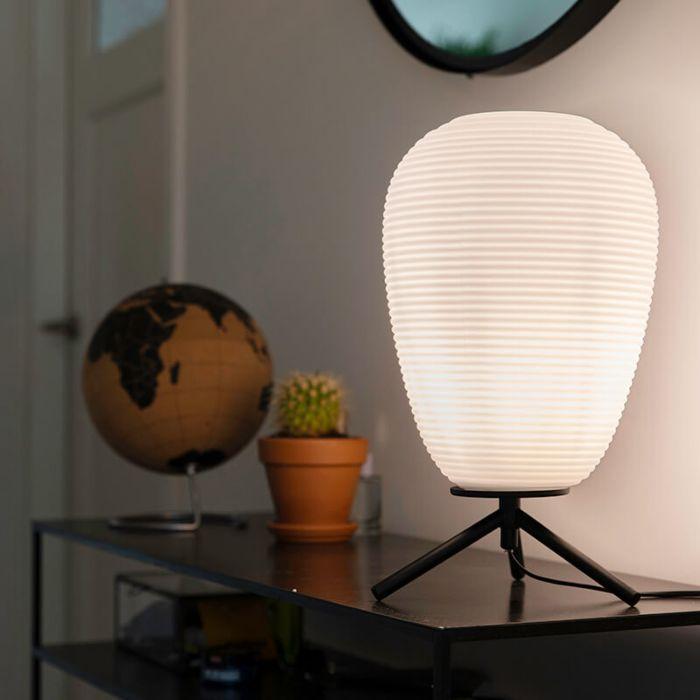 Design-tafellamp-zwart-glas-24-cm-met-opaal-glas---Hero