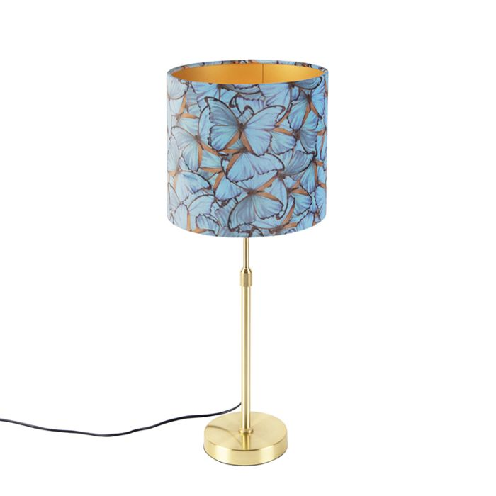 Tafellamp-goud/messing-met-velours-kap-vlinders-25-cm---Parte