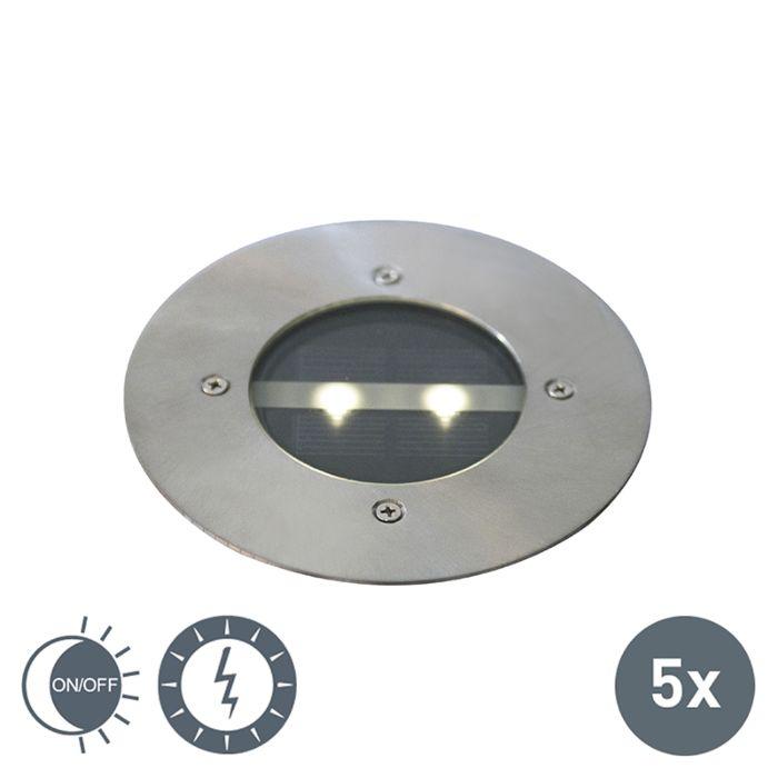 Moderne-grondspot-staal-zonne-energie-set-van-5-IP44---Tiny