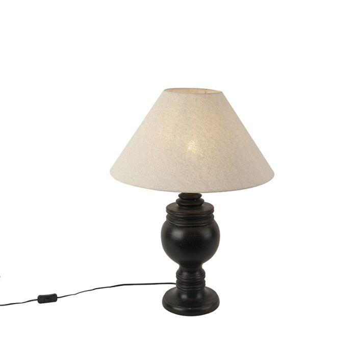 Landelijke-tafellamp-met-linnen-kap-beige-50-cm---Sage