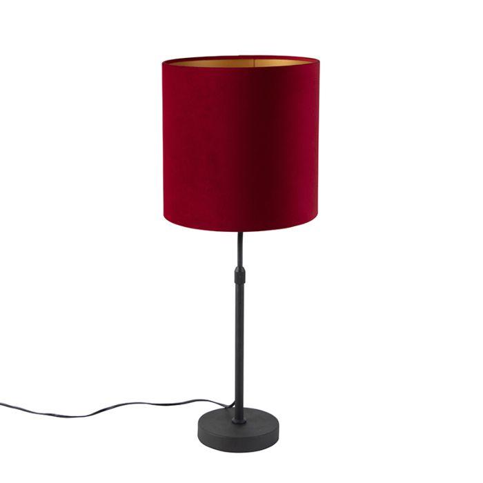 Zwarte-tafellamp-met-velours-kap-rood-met-goud-25-cm---Parte