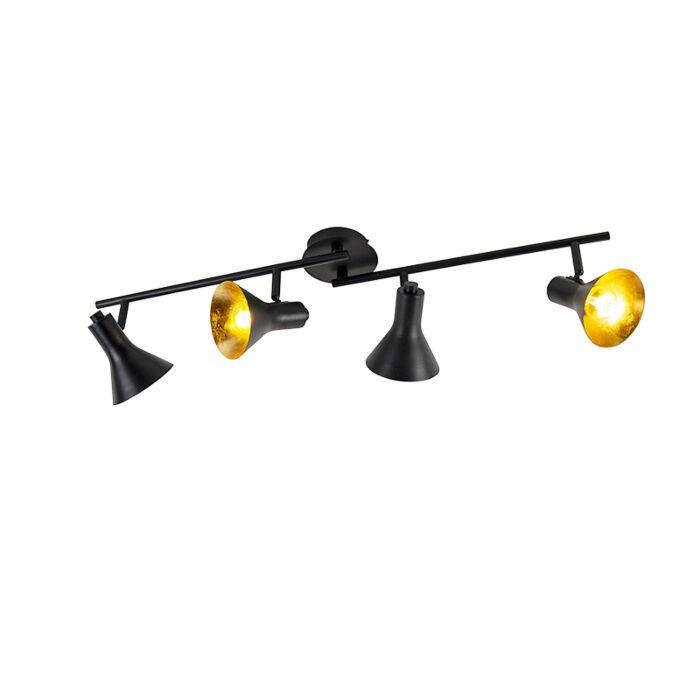 Moderne-spot-zwart-met-goud-4-lichts---Magno