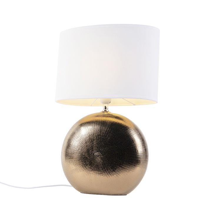 Romantische-tafellamp-koper-met-witte-kap-34-cm---Cleo