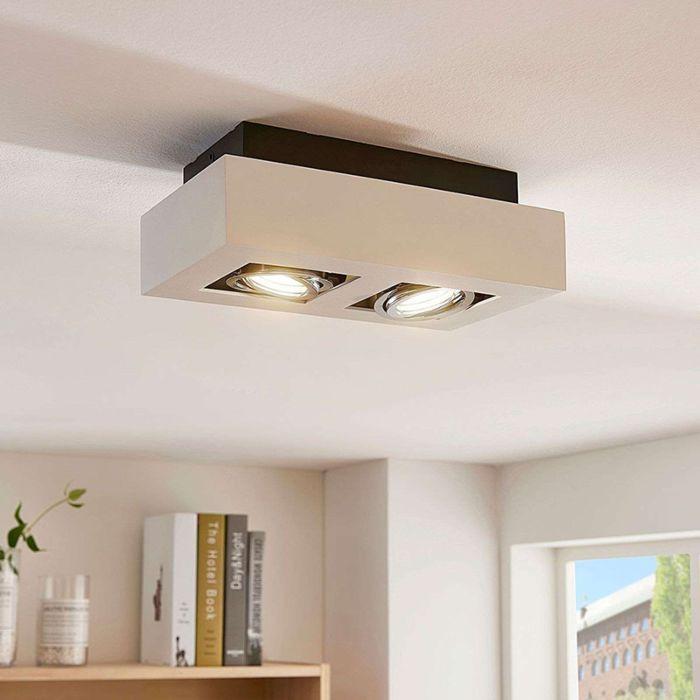 Moderne-plafondspot-wit-incl.-GU10-kantelbaar-2-lichts---Vince