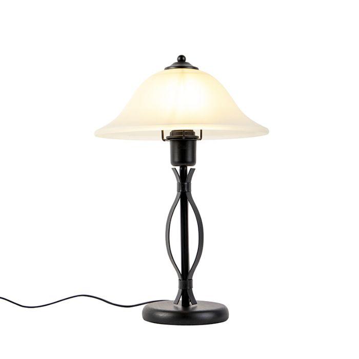 Klassieke-tafellamp-bruin-met-beige-glas---Pirata