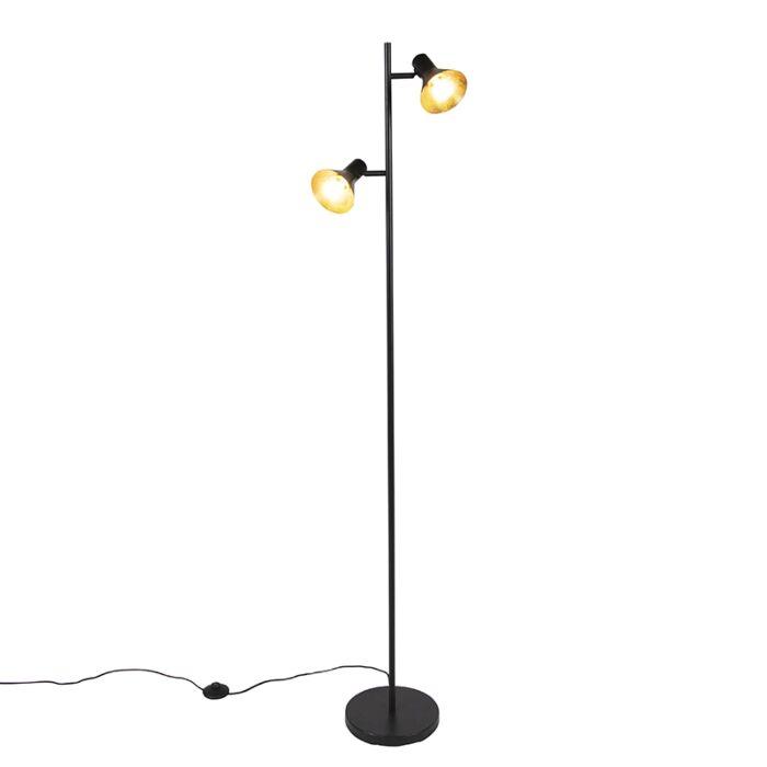 Moderne-vloerlamp-zwart-met-goud-2-lichts---Magno