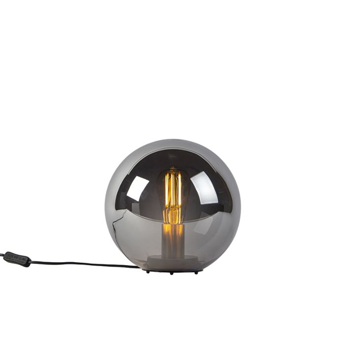 Art-deco-tafellamp-zwart-met-smoke-glas-25-cm---Pallon-Bulla