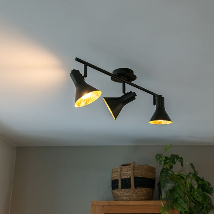 Moderne-spot-zwart-met-goud-3-lichts---Magno