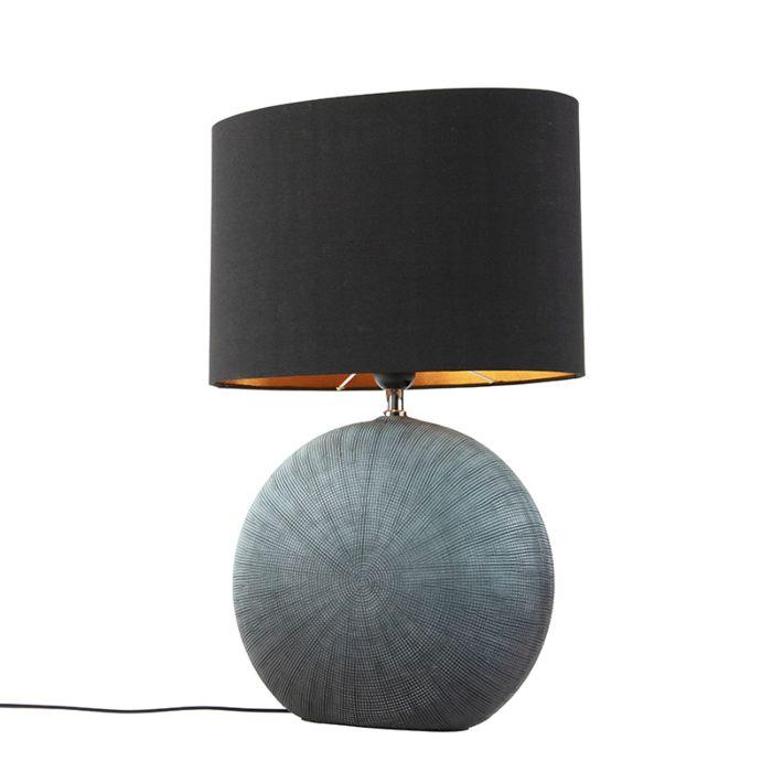 Landelijke-tafellamp-blauw-met-zwarte-kap-34-cm---Cleo