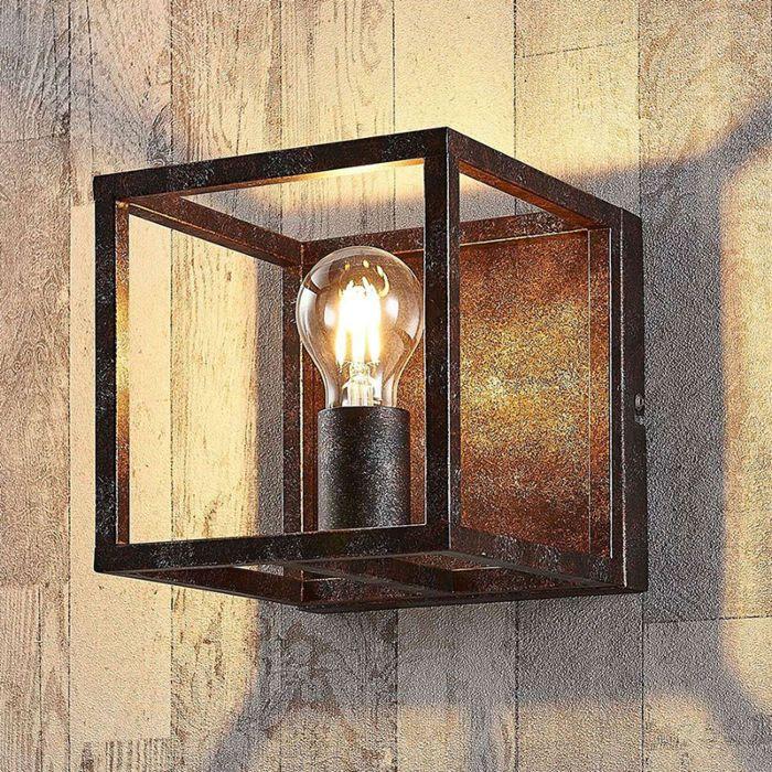 Landelijke-vierkante-wandlamp-roestbruin---Cage