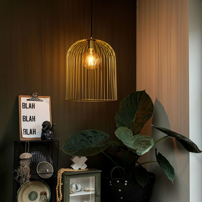 Design-hanglamp-goud---Wire-Knock