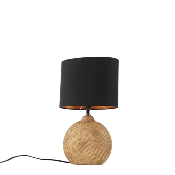 Tafellamp-brons-met-zwarte-kap-23-cm---Cleo
