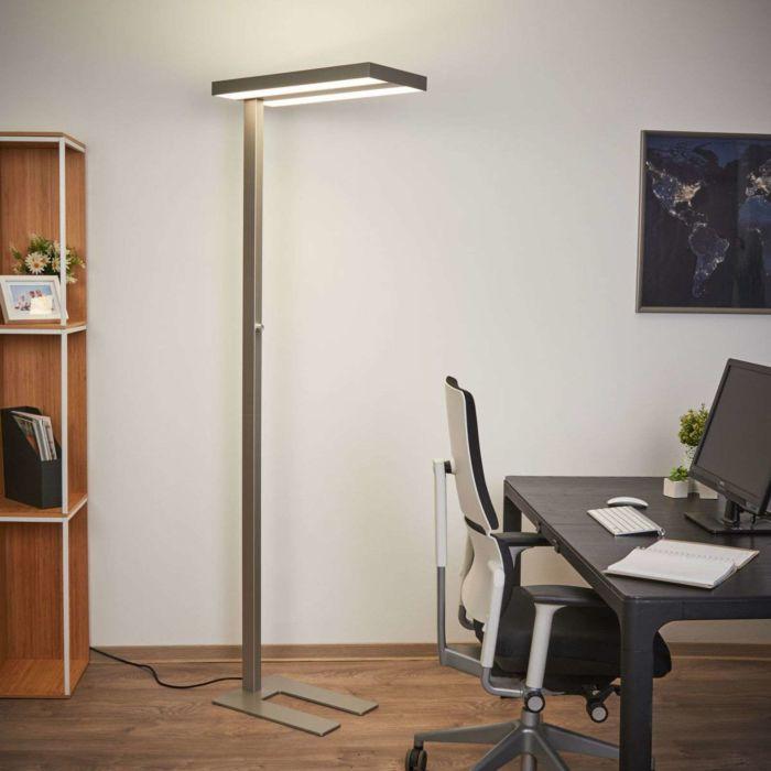 Moderne-vloerlamp-aluminium-incl.-LED-en-dimmer---Logan